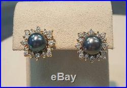 Certified Tahitian Pearl & Diamond Necklace & Earrings Set 2.60ctw 14K Gold