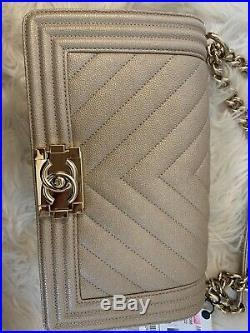Chanel Golden Pearl Beige Caviar Chevron Boy Bag Old Medium NEW Full Set