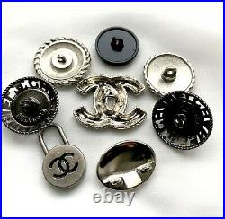 Chanel buttons SET LOT of 8 button CC Logo zipper pearl stamped charm PENDANT
