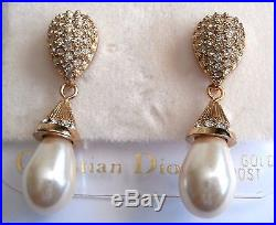 Christian Dior Gold Plated Earrings set with Crystals & Pearls &14 kt Gold Posts