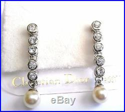 Christian Dior Rhodium Plated Earrings Set Crystals & Pearl with 14 kt Gold Post