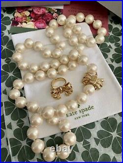 Classic Kate Spade New York Pearl Long Necklace Gold Bow & Ring SET Gold RARE