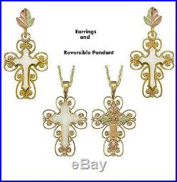 Coleman Black Hills 10kt Gold Inlay Mother of Pearl Cross Pendant Earrings Set
