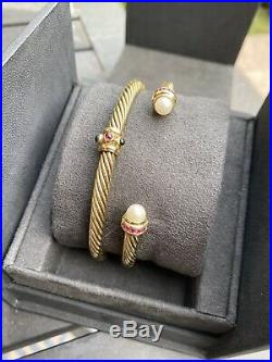 David Yurman Renaissance Bracelet 5mm 14k Gold SET OF 2 (ALL GOLD)