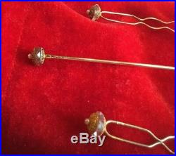 Delicate Set of 14k Gold Victorian Hairpins & Matching Hatpin with Seed Pearls