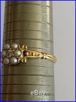 Delightful Edwardian 18ct Gold Seed Pearl & Diamond Set Daisy Cluster Ring