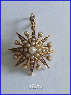 Delightful Fine Victorian 15ct Gold & Seed Pearl Set Star Pendant