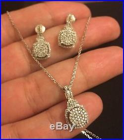 Designer 14 Ct White Gold 1.50ct Diamond Drop Earrings Necklace Set Dangle
