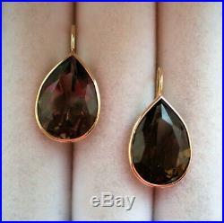 Designer 14K Yellow Gold Bezel Set Smokey Topaz Tear Drop Dangle Earrings 5 g