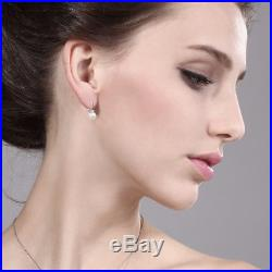 Diamond Accent Cultured Akoya Pearl Leverback Earrings Set In 14K White Gold