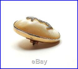 Diamond Anchor set in Mother of Pearl 15 carat Antique 1914