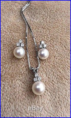 Diamond & Cultured Pearl Necklace & Earrings Set 14kt White Gold BEAUTIFUL