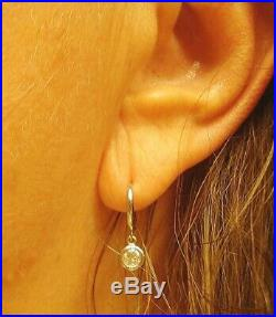 Diamond Drop Earrings Bezel Set 14K White Gold custom made