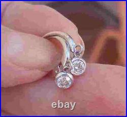 Diamond Drop Earrings Bezel Set 14K White Gold custom made Leverback