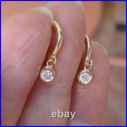 Diamond Drop Earrings Bezel Set 14K Yellow Gold Dainty