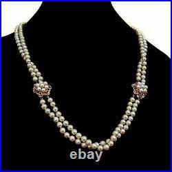Double Strand Akoya Pearl Necklace Bracelet Set 14 K Gold