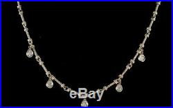 Drop Dangle Diamond Necklace 14k White Gold, 5 Bezel-set Diamonds, 18 Long