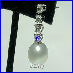 Drop Pendant Earrings with South Sea Pearls and Diamonds Set in 18K White Gold