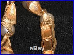 ESCADA Bracelet & Earrings Set Faux Pearl & Brushed Gold Tone Metal New VTG 80s