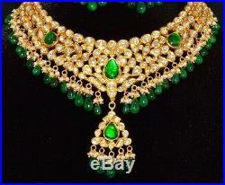 Estate 22k 18k Gold Diamond Emerald Pearl Enamel Necklace Dangle Earrings Set Nr