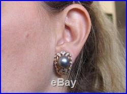ESTATE LARGE HANDWROUGHT 12mm PEARL & DIAMOND RING/EARRING SET 18kt yellow gold