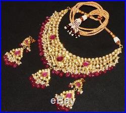 Estate Moghul Ruby Pearl Diamond Enamel 22k 18k Gold Necklace Dangle Earring Set