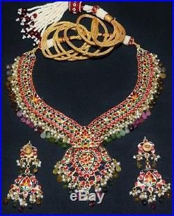 Estate Moghul Tourmaline Pearl Diamond Enamel 22k 18k Gold Necklace Earring Set