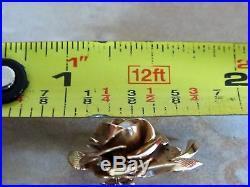 EUROPEAN Big Rose/Flower/Leaf Design Earrings Pearl Set in 14k Gold Not scrap