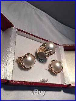 Earrings and ring set 14K pearl
