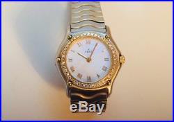 Ebel wave Diamond Mother of Pearl Dial Ladies Watch 18kt yellow gold bezel set
