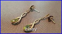 Edwardian 9ct Gold Peridot Seed Pearl Pendant Chain & Earrings Set. Refxaeodmx