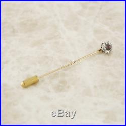 Edwardian 9ct Yellow Gold, Silver Set Black Pearl and Diamond Stick Pin