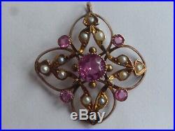 Edwardian 9k Gold Pink Topaz & Pearl Set Lavaliere Pendant
