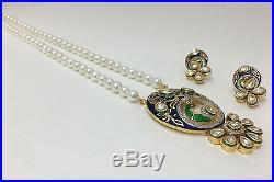 Elegant Fusion CZ Polki Kundan Blue Enamel Round Pearls Necklace Set