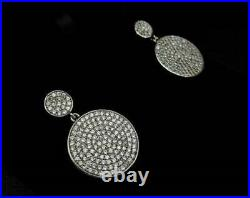 Engagement Wedding Dangle Drop Earrings Pave Set 4.12 Ct Diamond 14k White Gold