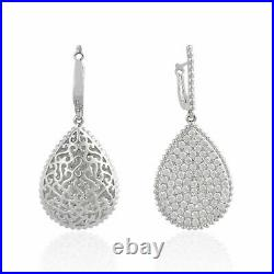Engagement Wedding Pave Set Drop Dangle Earrings 4.26 Ct Diamond 14K White Gold