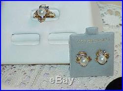 Estate $1875 14K Yellow Gold 7.5mm Pearl Diamond Ring Earrings Set 2 tone Vintg
