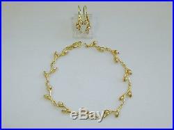 Estate Custom Made 14k Yellow Gold Pearl Pussy Willow Bracelet & Earring Set