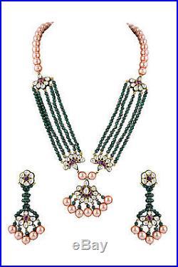 Ethnic Stylish Green Onyx Golden Pearls Jadau Kundan Necklace Set