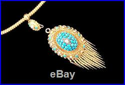 Etruscan Revival 18K Gold Suite Domed Pave Set Turquoise & Pearls Circa 1870
