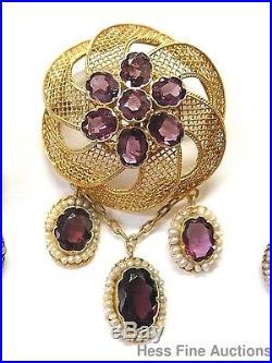 Etruscan Revival Parure Rhodolite Garnet Seed Pearl 15k Gold Earrings Pendant