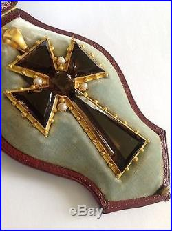 Exceptional Victorian 15ct Gold Natural Smokey Quartz & Seed Pearl Set Cross