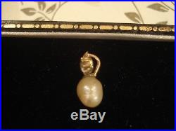 Exquisite Antique Edwardian 15CT Gold Natural Pearl & Diamond Set Drop Pendant