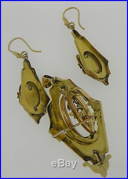 Exquisite Antique Victorian Lady´s Gold Pearls Earrings Pendant Brooch Set