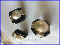 FINE JEWELRY SET- 14K Yellow Gold Diamond Mabe Pearl Ring + Earrings Omega Back