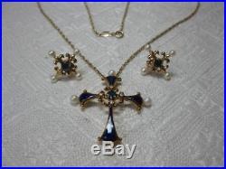 Faberge Earrings & Cross Diamond Sapphire Pearl Blue Enamel 14K Gold Necklace