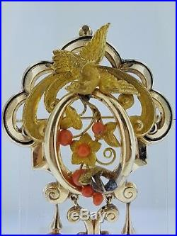 FabulousMid-VictorianAntique 15K Gold+CoralLarge Brooch+Drop Earrings SetWOW