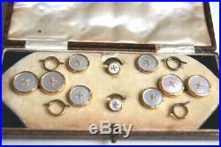 Fine Antique 9 Carat Gold Mop Mens Cuff Links Dress Shirt Stud Buttons Set Case