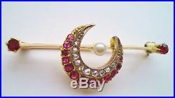 Fine Antique Edwardian 9ct Gold Ruby Diamond & Pearl set Crescent Brooch c1905