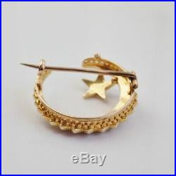 Fine Antique Victorian 15ct Gold Pearl set Crescent & Star Brooch c1895
